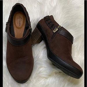 CLARKS Brown Suede Braided Buckle Heeled Clog
